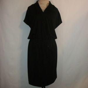 Talbots cap sleeve sinch waisted black dress